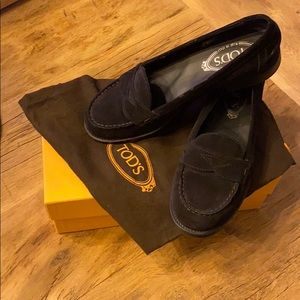 Tod's Ivy Suede Nuovo Mocassino Loafer Black 38.5